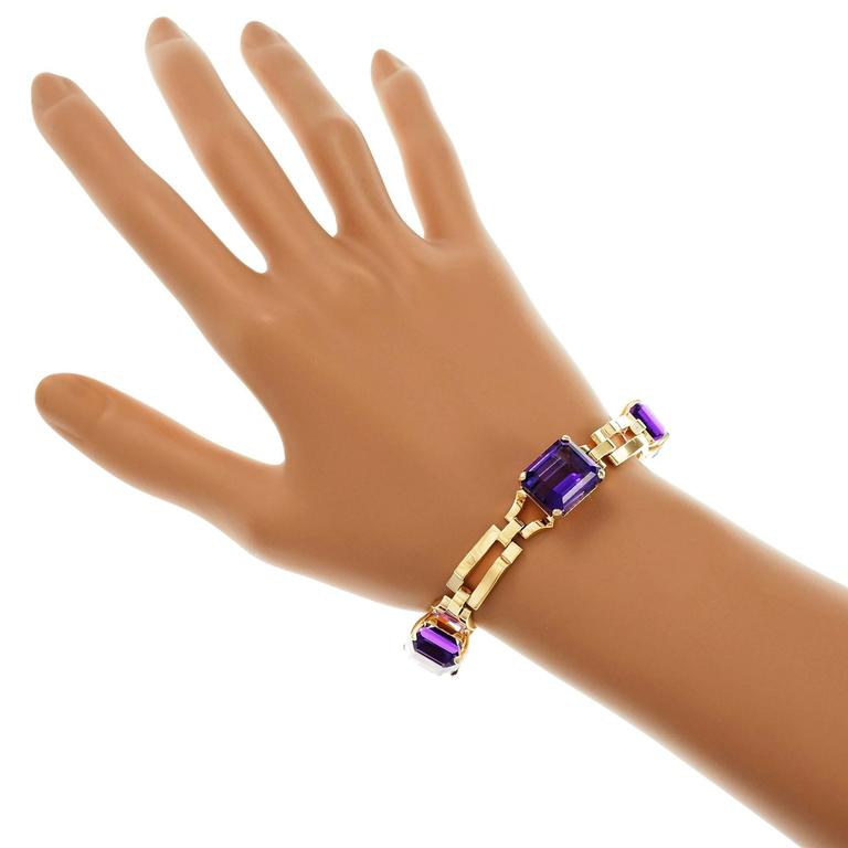 Women's Tiffany & Co. Amethyst Yellow Gold Link Bracelet For Sale