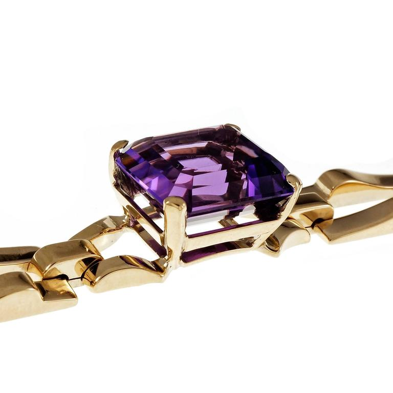 Tiffany & Co. Amethyst Yellow Gold Link Bracelet For Sale 2