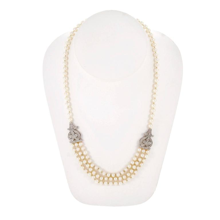 Cultured Freshwater Pearl Diamond Multi Strand Gold Necklace In Good Condition For Sale In Stamford, CT