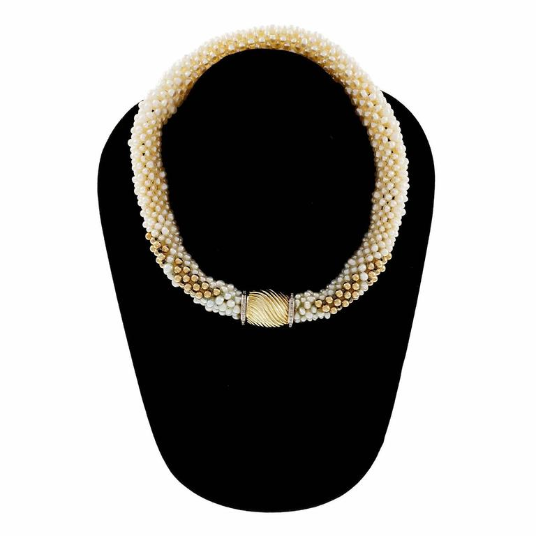 Women's Freshwater Woven Pearl Diamond Gold Necklace For Sale