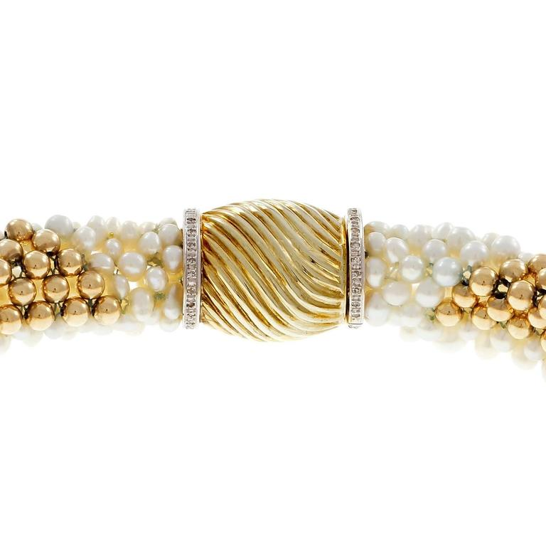 Freshwater Woven Pearl Diamond Gold Necklace In Good Condition For Sale In Stamford, CT