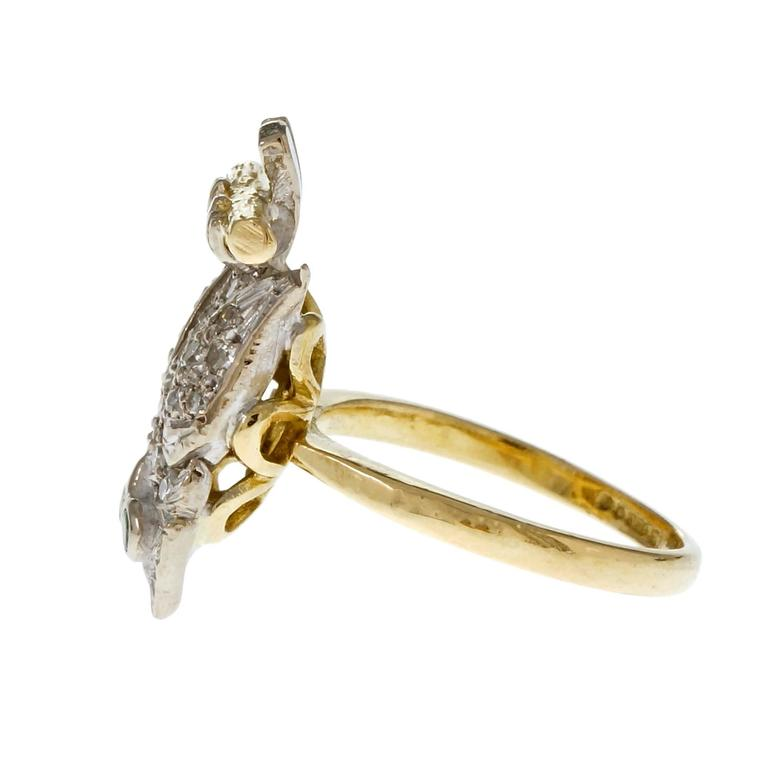 Women's Diamond Pavé Emerald Gold Owl Cocktail Ring For Sale