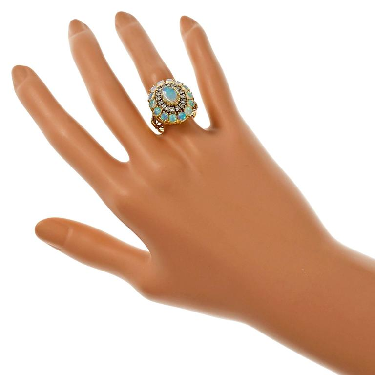 Opal Diamond Dome Yellow Gold Cocktail Ring For Sale 2
