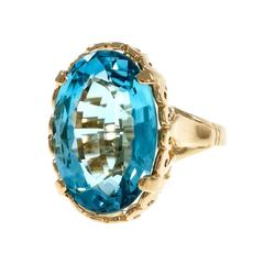 Large London Blue Oval Topaz Yellow Gold Cocktail Ring
