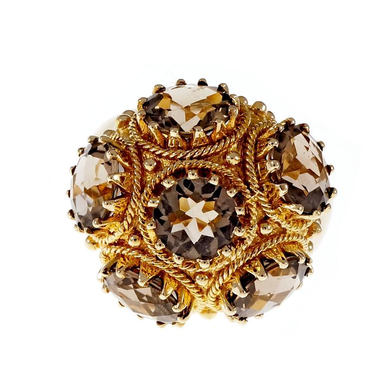 smoky quartz domed gold cocktail ring for sale at 1stdibs