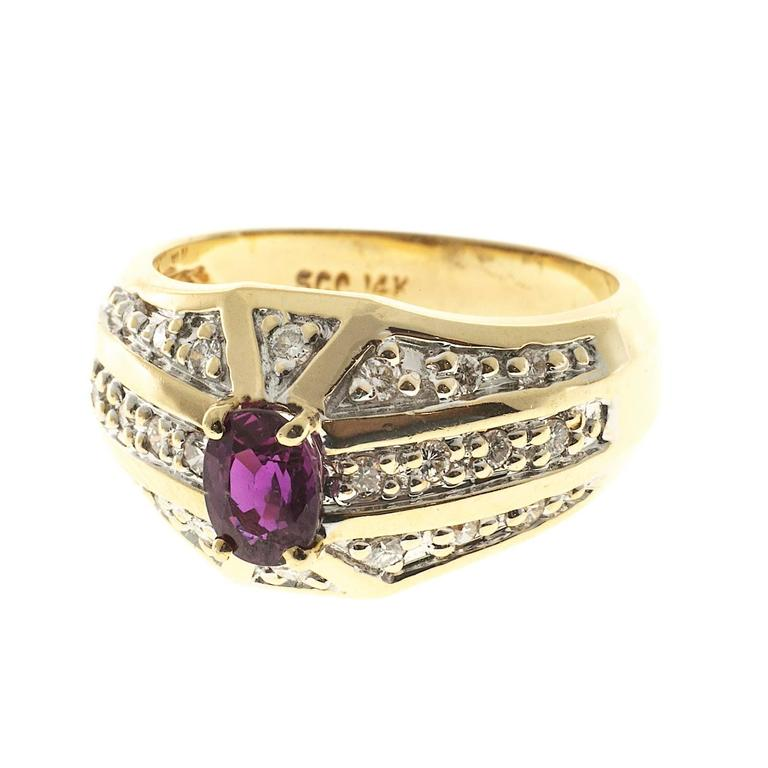 Oval Pink Red Ruby Diamond Bead Set Gold Cocktail Ring 2