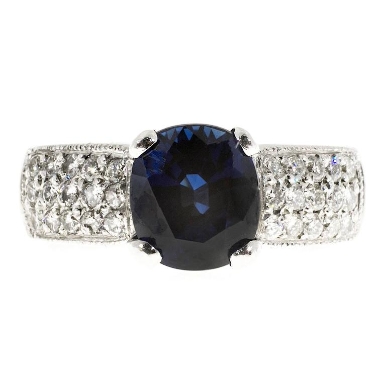 GIA Certified 1.75 Carat Sapphire Diamond Engagement Ring