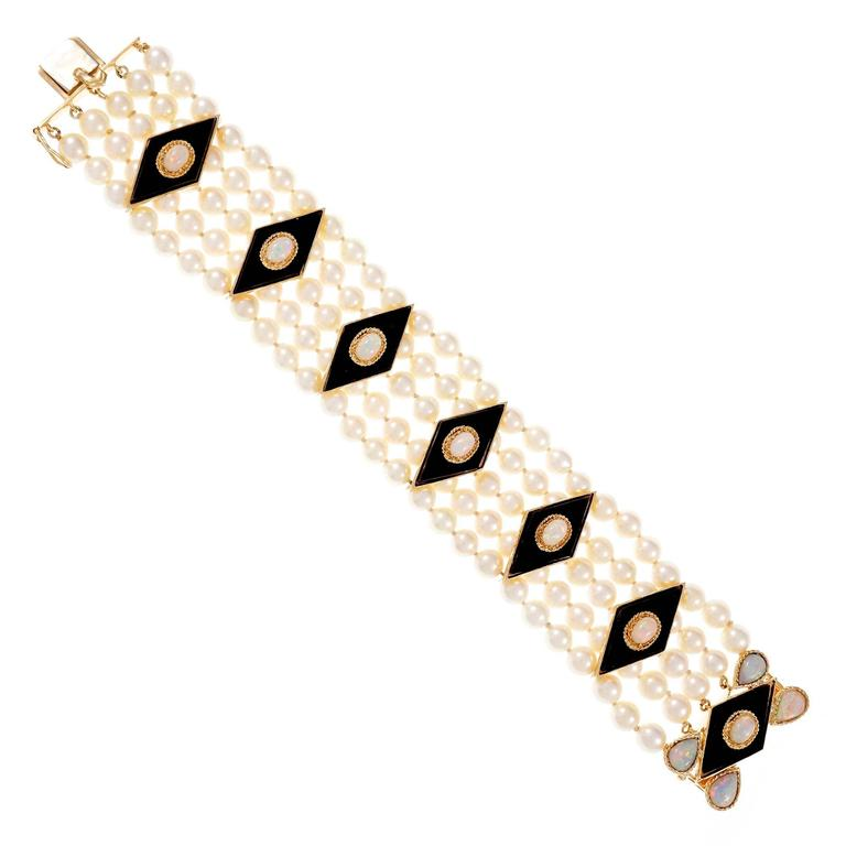 Five Row Pearl Black Onyx Opal Gold Bracelet