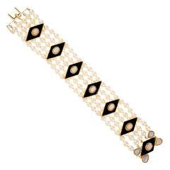 Five Row Pearl Black Onyx Opal Gold Bracelet