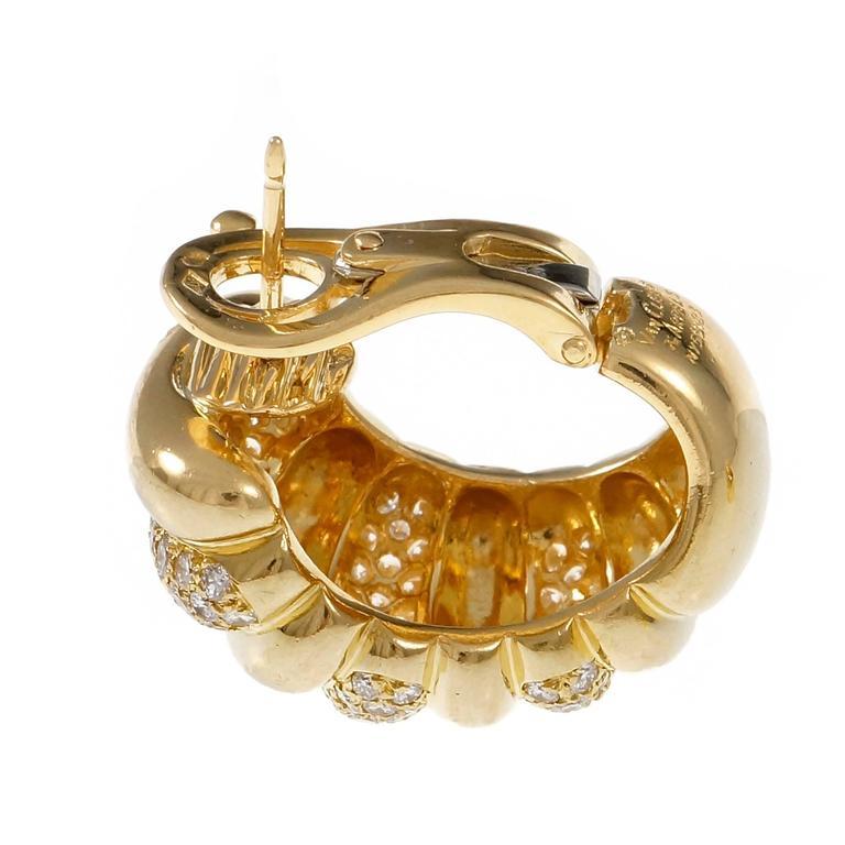 Van Cleef & Arpels Diamond Gold Hoop Earrings 3