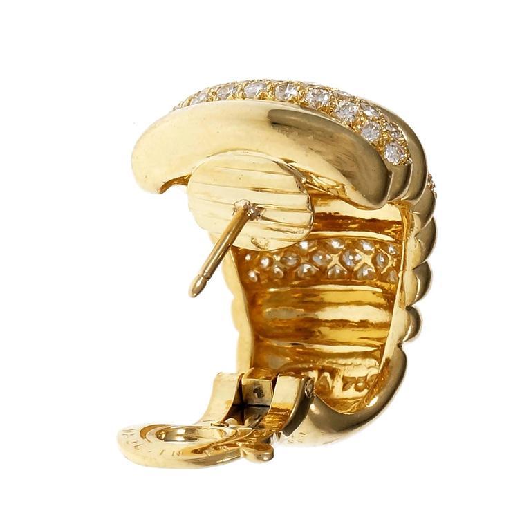 Van Cleef & Arpels Diamond Gold Hoop Earrings 4
