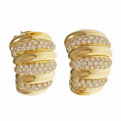 Van Cleef & Arpels Diamond Gold Hoop Earrings
