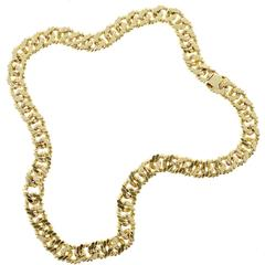 Hand Twisted Wire Yellow Gold Link Necklace