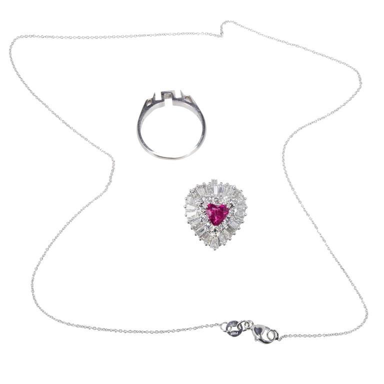 1.13 Carat Palais Ruby Diamond Ringdant Platinum Pendant Ring 8