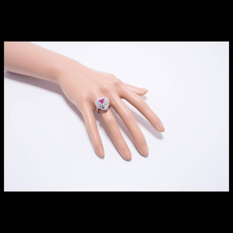 1.13 Carat Palais Ruby Diamond Ringdant Platinum Pendant Ring 9