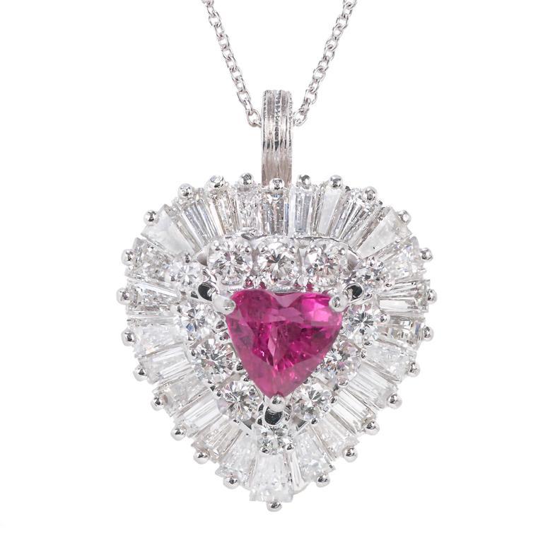 1.13 Carat Palais Ruby Diamond Ringdant Platinum Pendant Ring 3