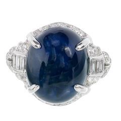 Art Deco 12.13 Carat Cabochon Sapphire Diamond Platinum Engagement Ring