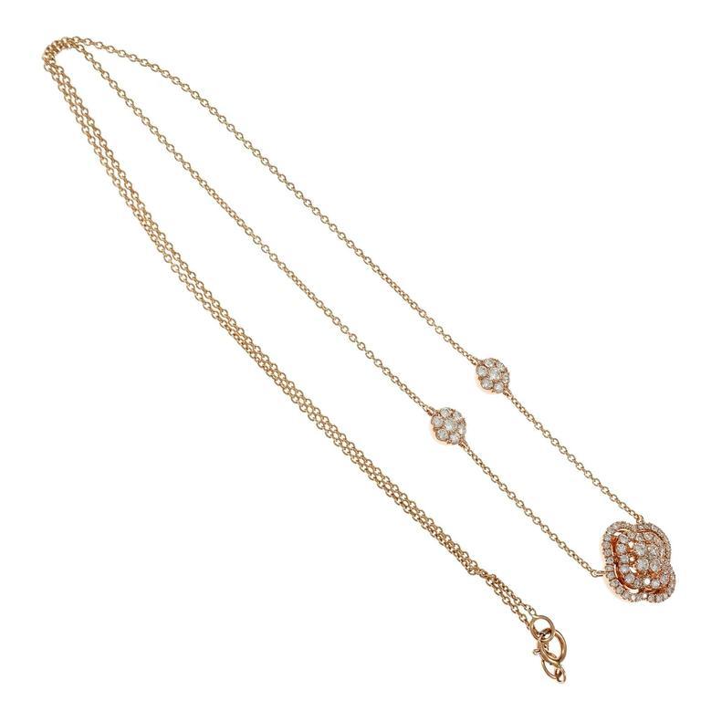 Women's Diamond Cluster Rose Gold Pendant Necklace For Sale