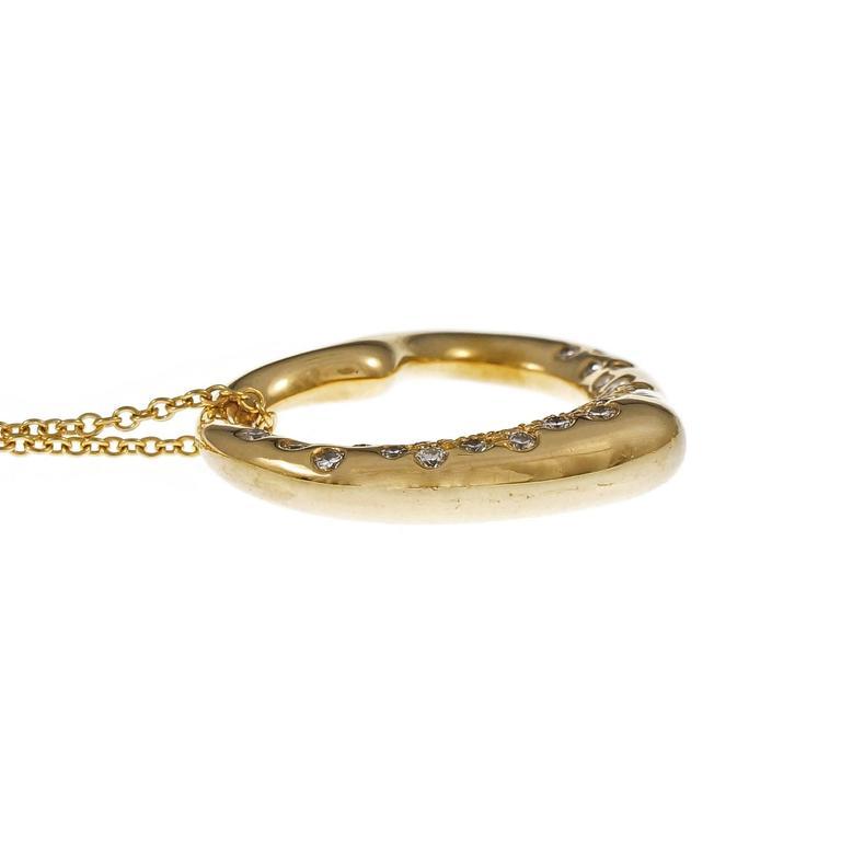 Women's Tiffany & Co. Elsa Peretti Diamond Gold Heart Pendant Necklace For Sale