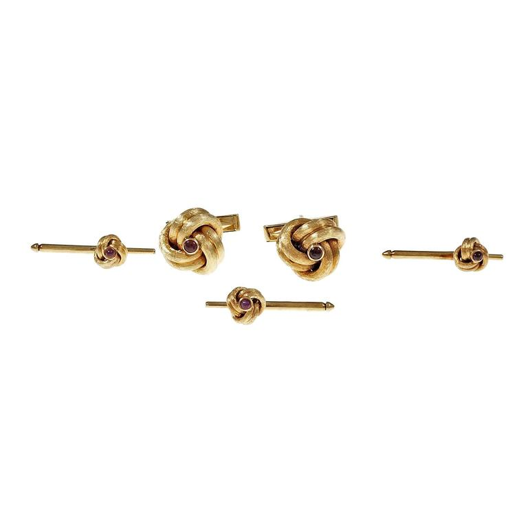 b600c9ca2 Tiffany and Co. Ruby Yellow Gold Shirt Stud Set Cufflinks For Sale ...