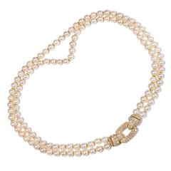 Cartier Diamond Double Strand Pearl Gold Necklace