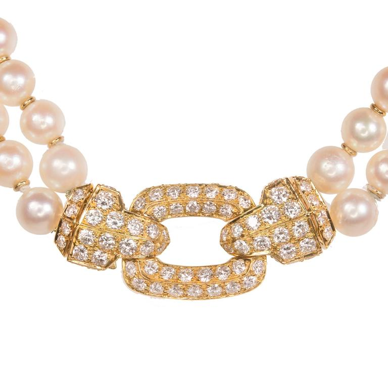 3b94fc1bddb25 Cartier Diamond Double Strand Pearl Gold Necklace
