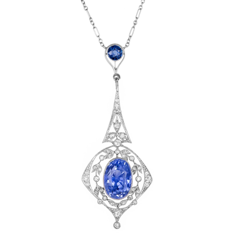 9 25 Carat Edwardian Sapphire Diamond Platinum Pendant Necklace