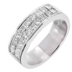 1.50 Carat Diamond Princess Cut Two-Row Wedding Band Platinum Ring