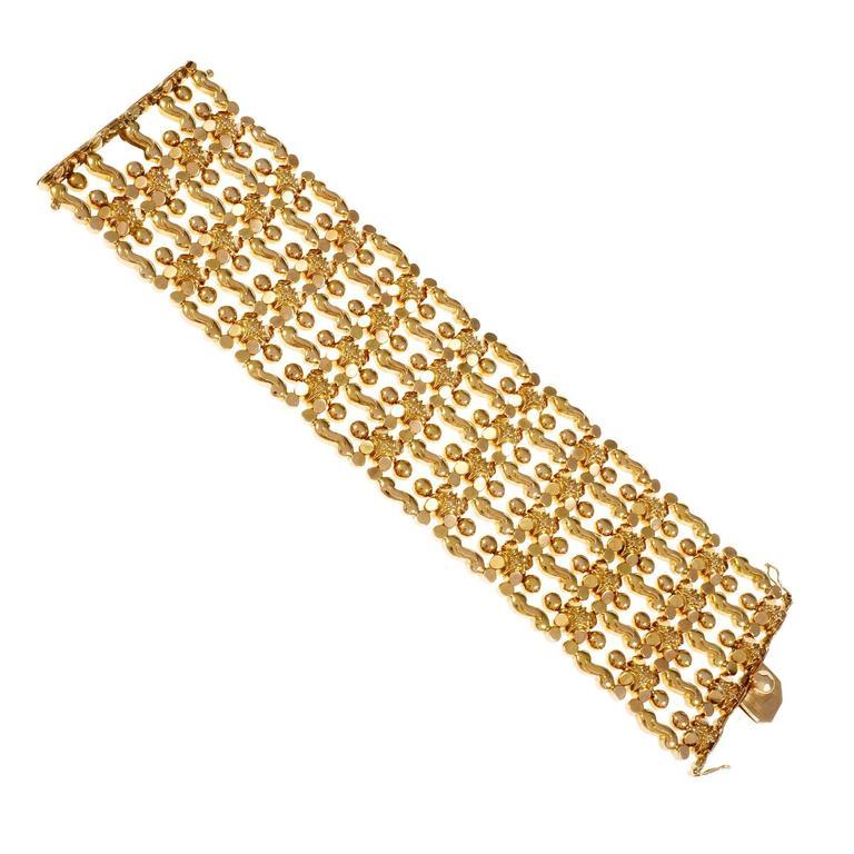 Wide Italian Hinged Gold Bracelet