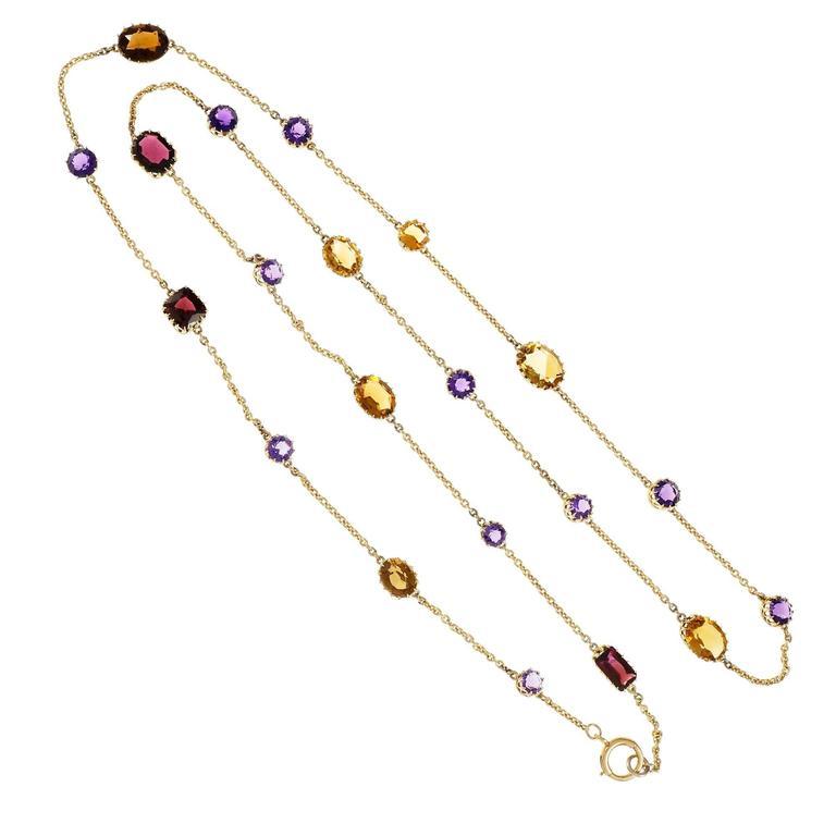 Amethyst Citrine Garnet Yellow Gold Necklace