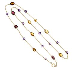 Amethyst Citrine Garnet Yellow Gold Necklace