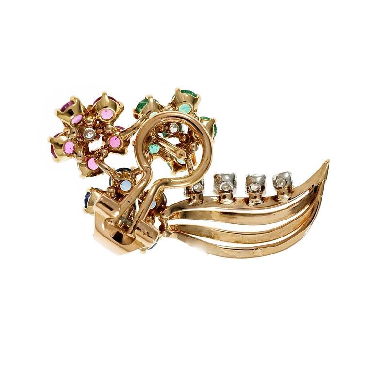 Women's Diamond Emerald Sapphire Ruby Gold Flower Earrings For Sale