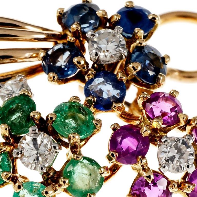 Diamond Emerald Sapphire Ruby Gold Flower Earrings For Sale 1
