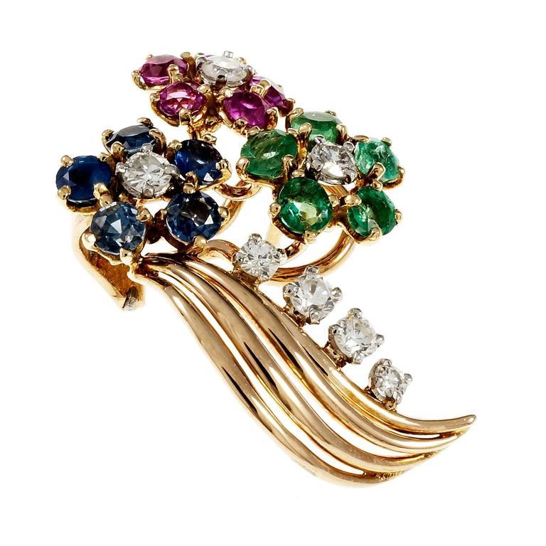 Diamond Emerald Sapphire Ruby Gold Flower Earrings For Sale 2
