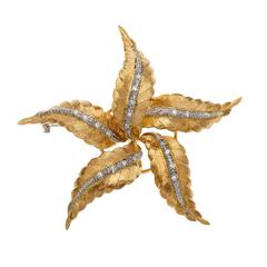 Spitzer & Furman Diamond Gold Textured Star Brooch