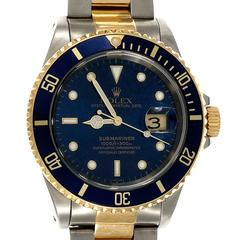 Rolex Gold Stainless Steel Submariner Perpetual Date Wristwatch Ref 16613