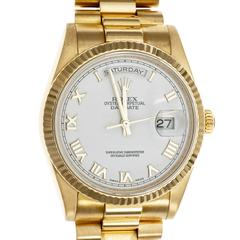 Rolex Yellow Gold President Perpetual White Dial Roman Numerals Wristwatch