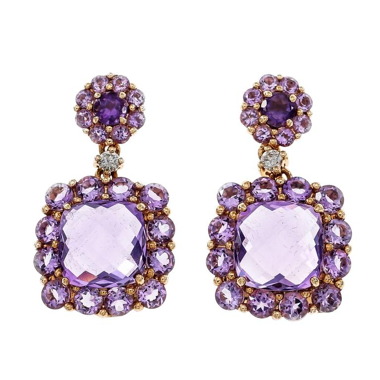 Amethyst Diamond Gold Dangle Earrings