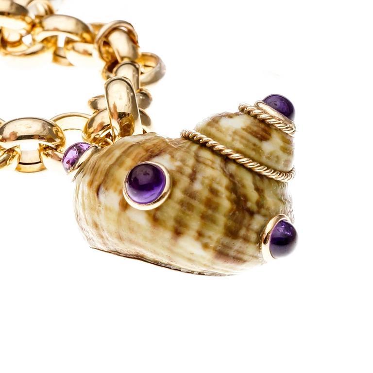Men's MAZ Amethyst Citrine Pearl Coral Onyx Sea Shell Gold Charm Bracelet