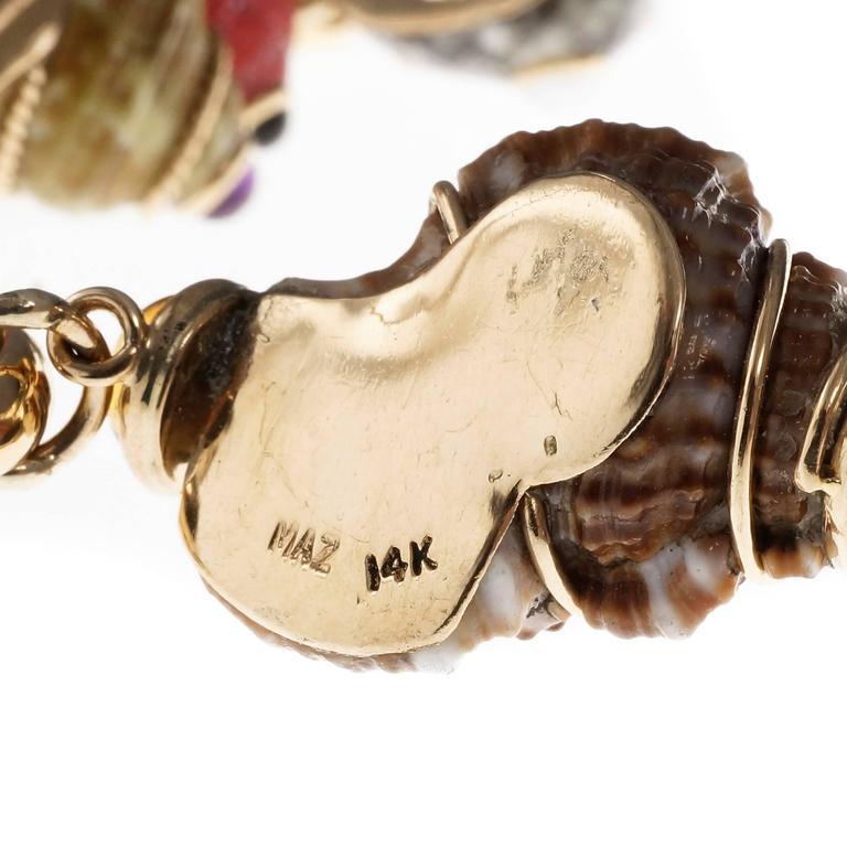 MAZ Amethyst Citrine Pearl Coral Onyx Sea Shell Gold Charm Bracelet 2