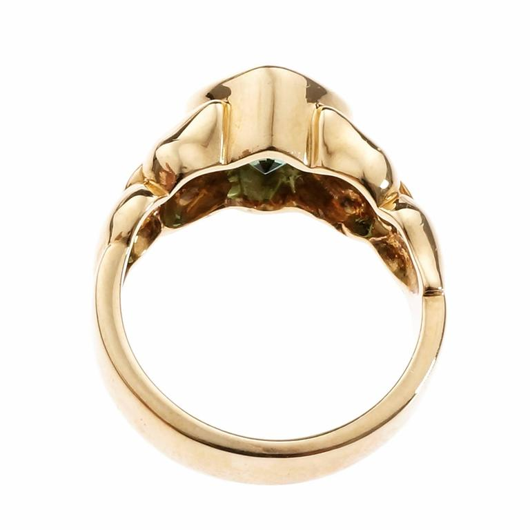 Women's 2.50 Carat Green Tourmaline Diamond Gold Cocktail Ring For Sale