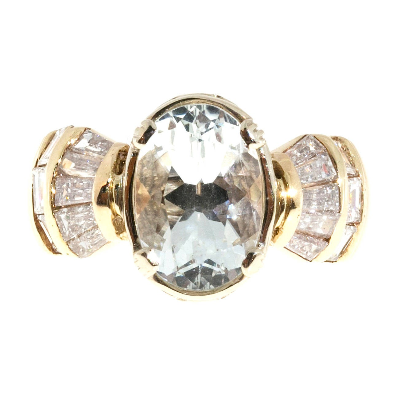 Clear Pale Blue Aquamarine Diamond Gold Tapered Baguette Ring For Sale