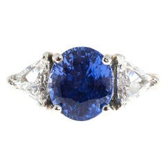 Natural No Heat Sapphire Trilliant Diamond Platinum Ring