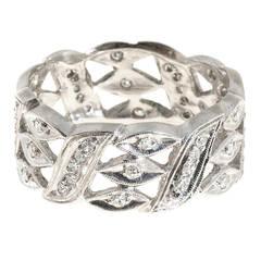 White Diamond Open Work Platinum Band Ring