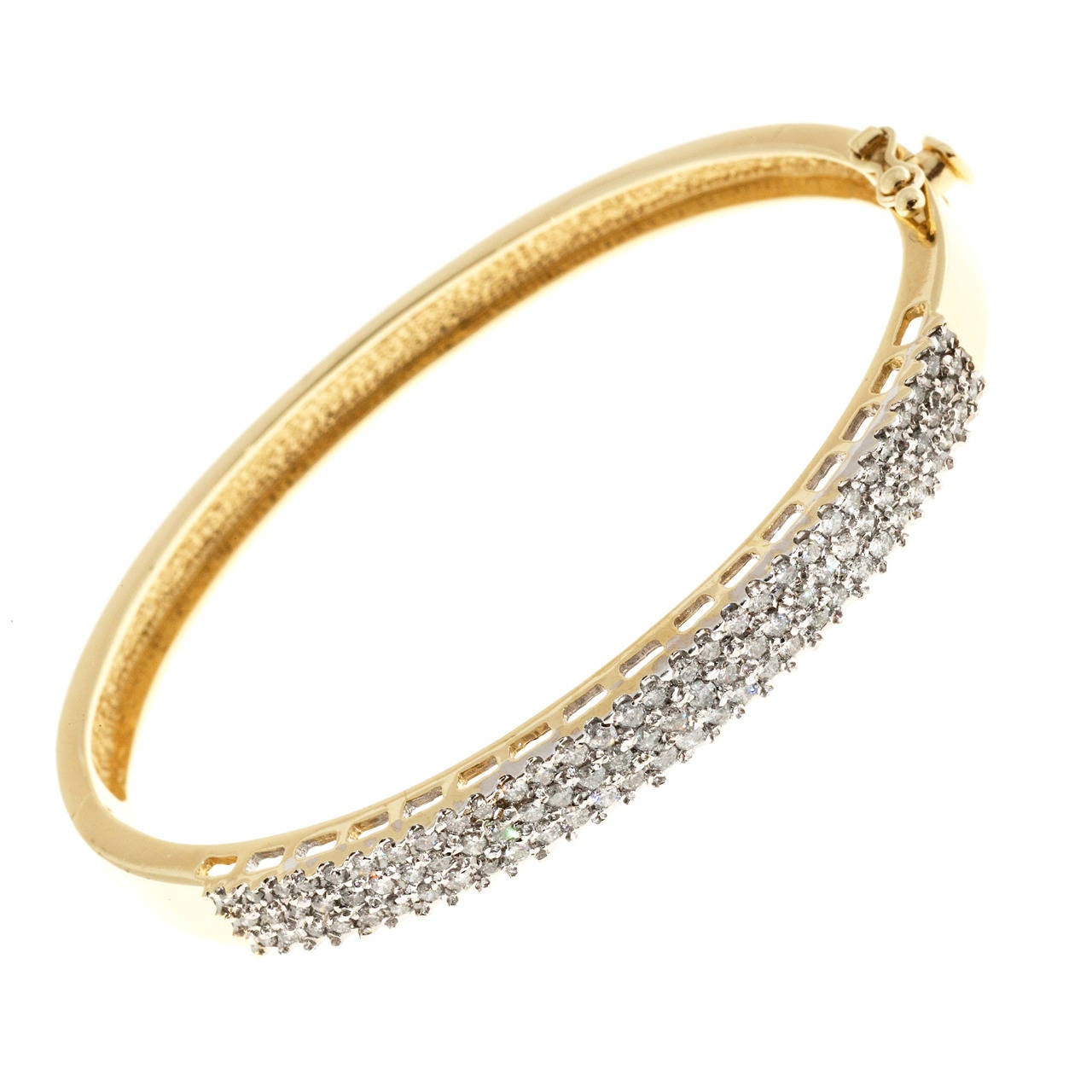 Three Row Round Diamond Gold Bangle Bracelet