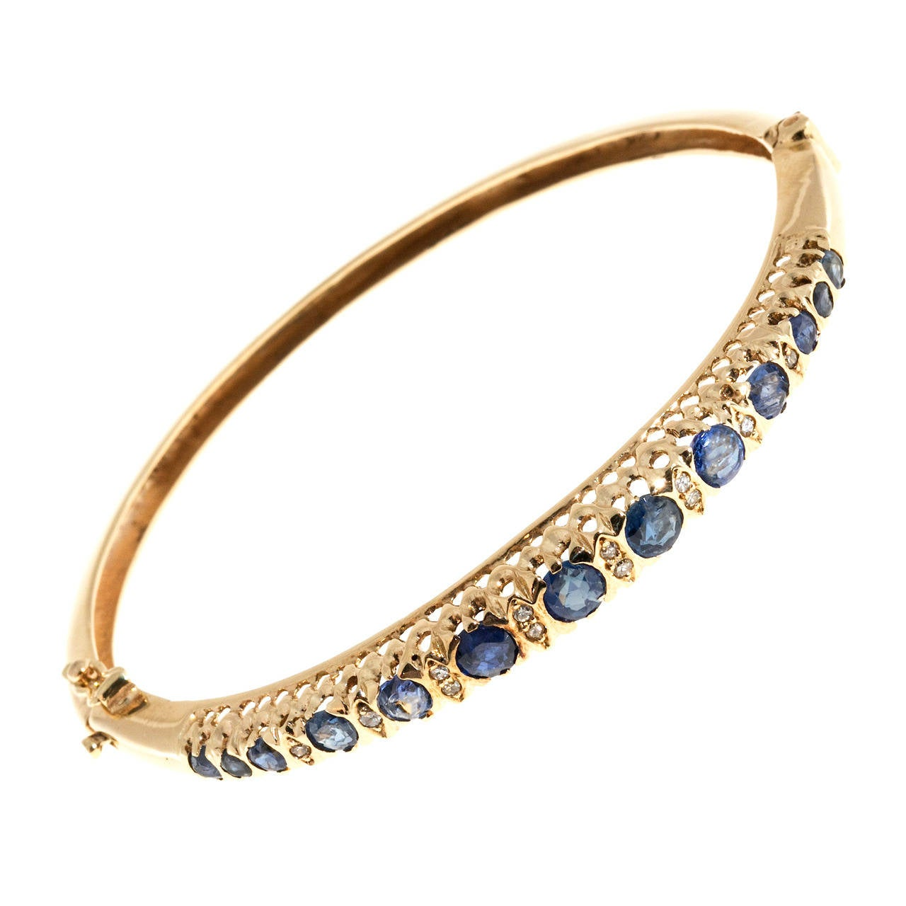Oval Sapphire Diamond Gold Bangle Bracelet