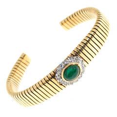 Cabochon Emerald Diamond Gold Coiled Bangle Bracelet