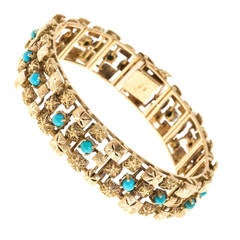 Textured Turquoise Gold Heavy Hinged Bracelet