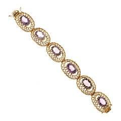 Oval Amethyst Gold Hinged Bracelet