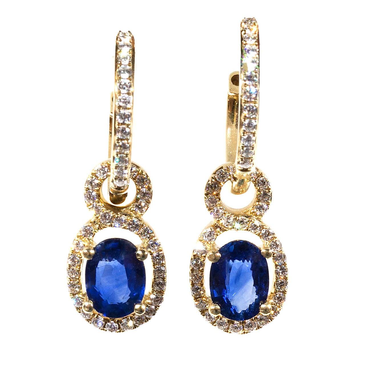 cornflower sapphire gold huggie earrings at 1stdibs
